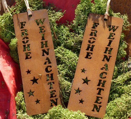 Geschenkanhänger Frohe Weihnachten.Anhänger Frohe Weihnachten Geschenkanhänger Rusty Passion